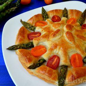 Szparagi w cieście francuskim z mozzarellą