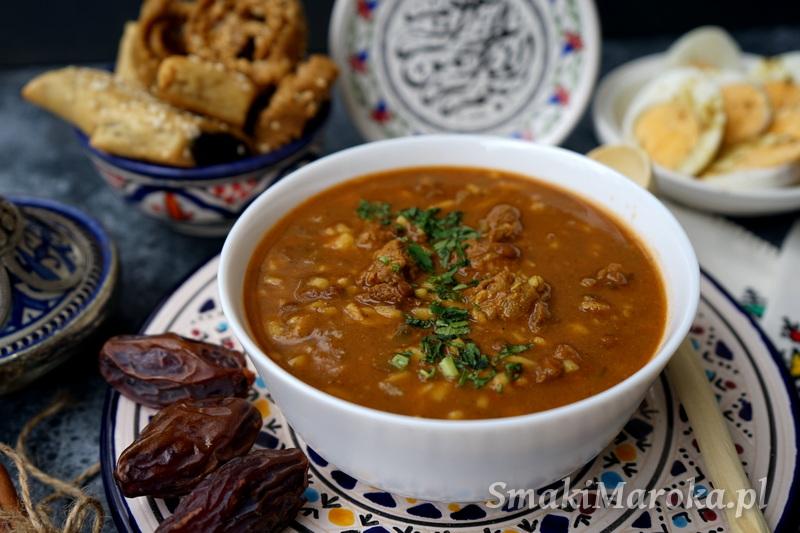 harira, zupa marokańska, przepisy kuchnia arabska, przepisy marokańskie, zupa z ciecierzycą, zupa z soczewicą, wołowina,