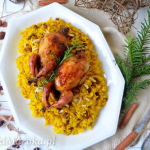 Pieczone przepiórki z ryżem korzennym