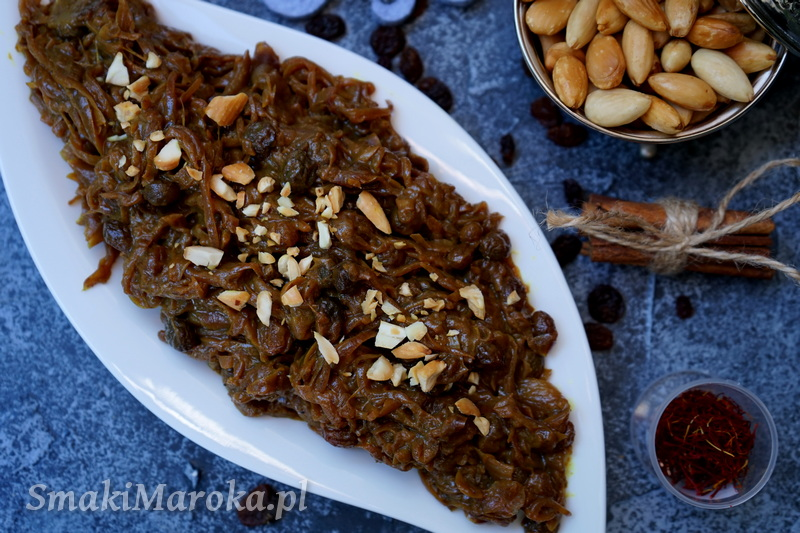 karmelizowana cebula po marokańsku, cebula na słodko, tfaya, kuchnia marokańska