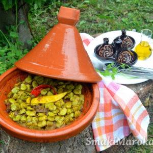 Marokański tagine z wołowiną i bobem