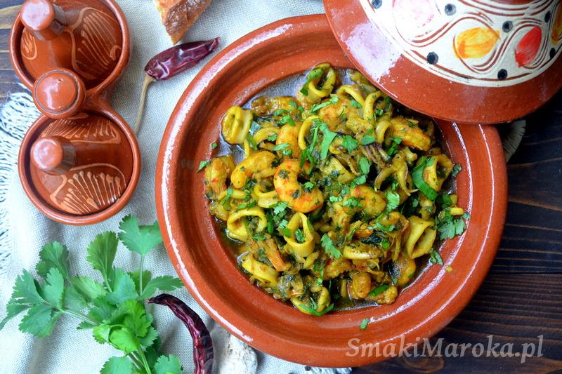 tagine z owocami morza, kalmary, kuchnia marokańska, blog