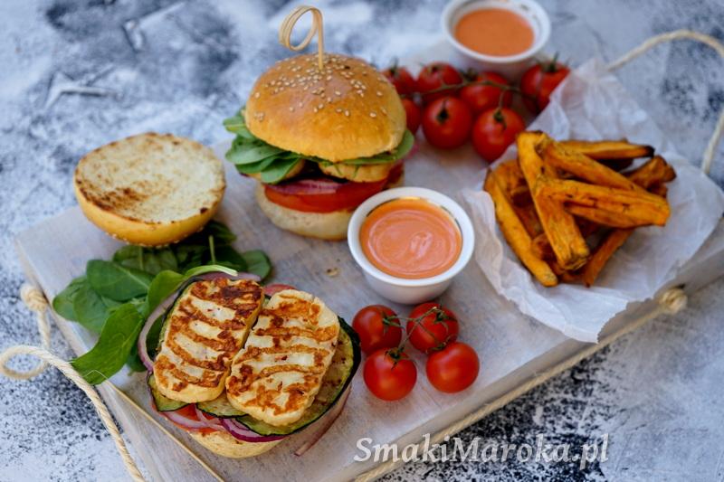 burgery wegetariańskie, halloumi, domowe burgery, sos z harissą