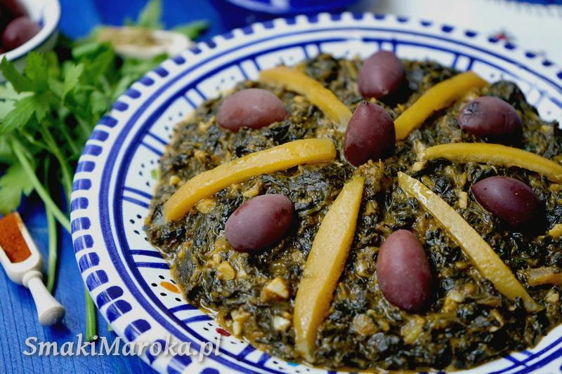 bakoula marocaine, cuisine marocaine, kuchnia marokańska blog, sałatka ze szpinaku, szpinak,