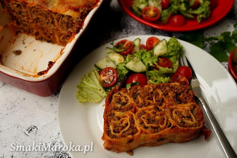 kefta marokańska, mięso mielone, zapiekanka naleśnikowa, zapiekanka z mięsem mielonym