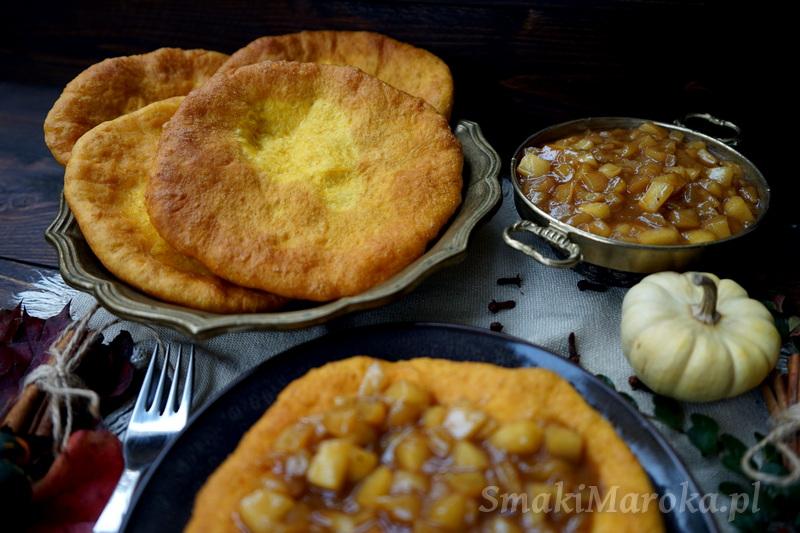 wykorzystanie puree z dyni, langosze, langos, langos z jabłkami, karmelizowane jabłka, blog, przepis na langos
