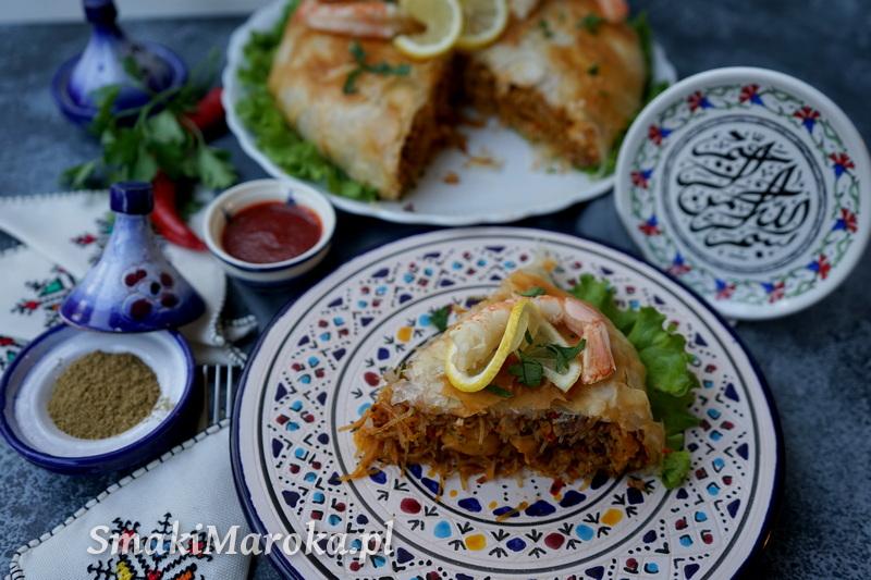 moroccan cuisine, maghreb food, pastilla fruit de mer, marokańskie przepisy, danie w owocami morza, kuchnia marokańska blog, smaki maroka,