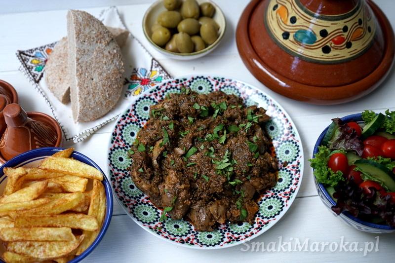 wątróbka przepis arabski, wątróbka po marokańsku, miękka wątróbka, kuchnia marokańska