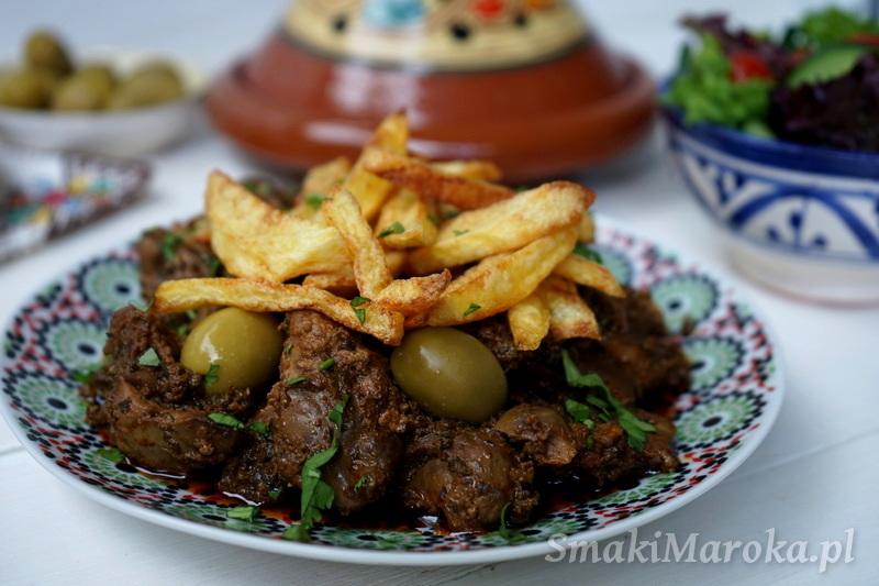 kuchnia marokańska, arabskie przepisy blog, wątróbka, przepis na miękką watróbkę, wątróbka z frytkami,